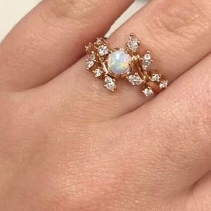 Fire Opal Olive Tree Crystals Rose Gold Tone Ring